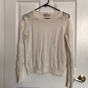 Lace Sleeve Crop Sweater